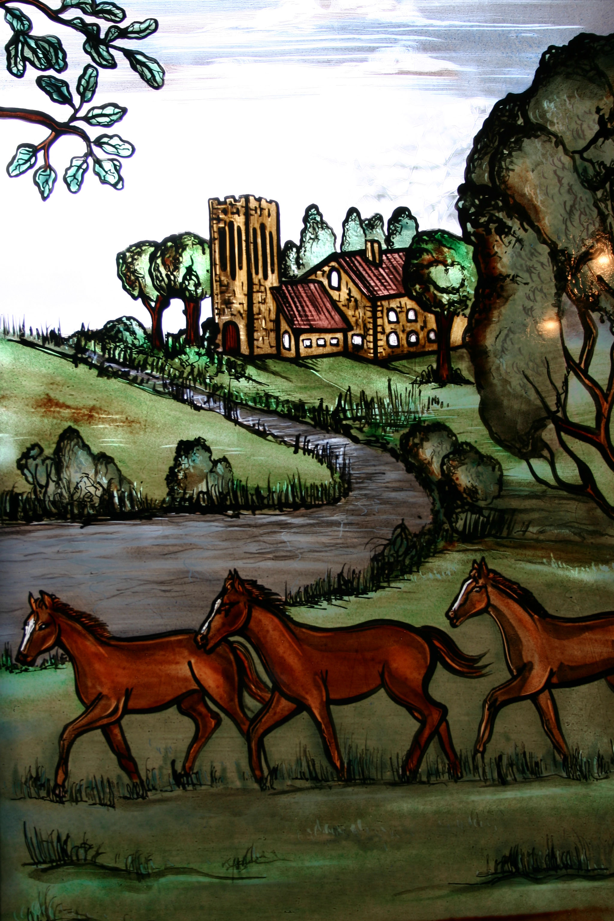 Horses - Glass Painting