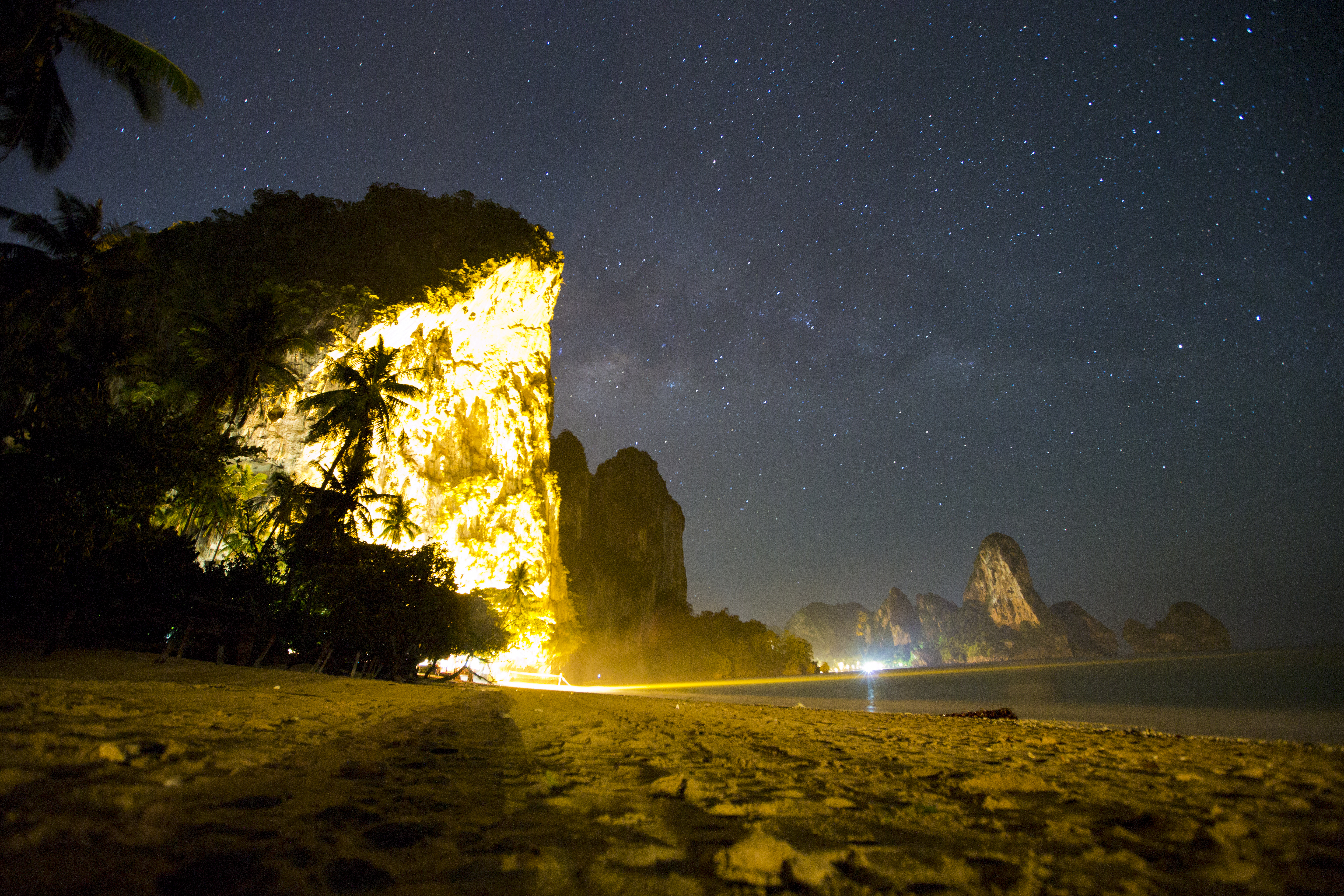 rock climbing island at night