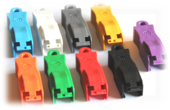 Multiple colors are available for the secure LC connector
