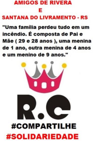RC Livramento faz apelo a comunidade para ajudar Família Uruguaia