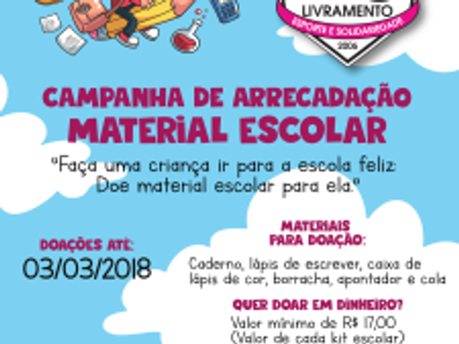 RC Livramento lança Campanha de Materiais Escolares 2018