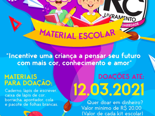 RC Livramento lança Campanha de Materiais Escolares 2021