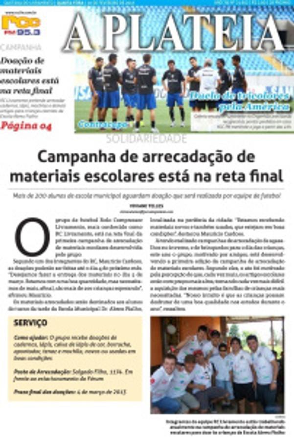 1ª Campanha de Materiais Escolares do RC Livramento é destaque na capa do Jornal A Plateia