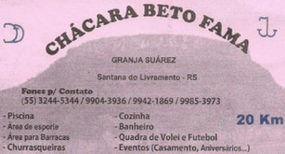 Chácara Beto Fama - Granja Suárez - Santana do Livramento RS