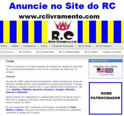 RC Livramento divulga espaço para anúncios no Site