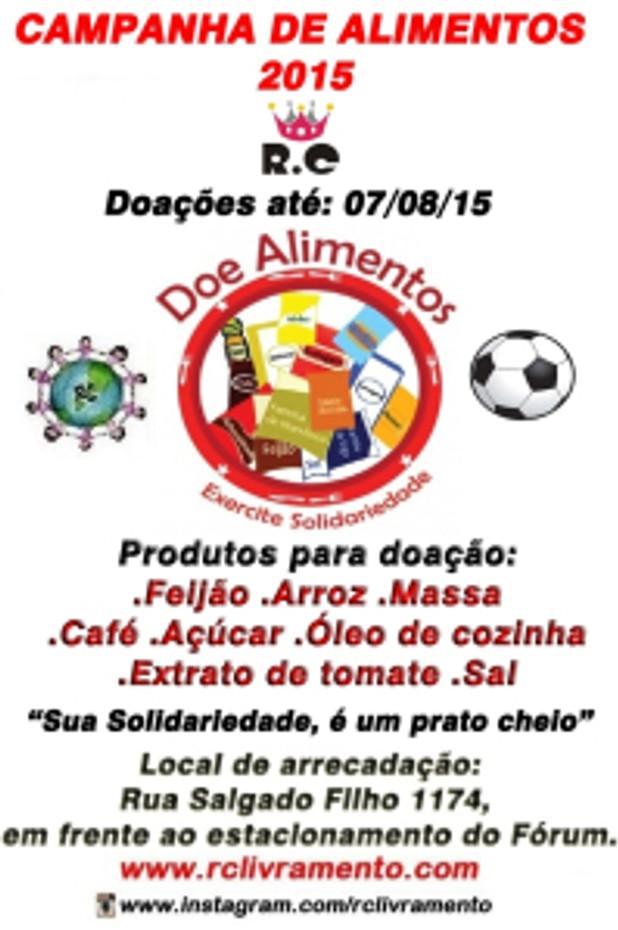 CAMPANHA DE ARRECADAÇÃO DE ALIMENTOS 2015 DO RC LIVRAMENTO