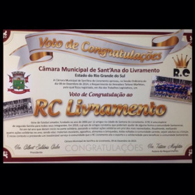 RC Livramento recebe homenagem na Câmara Municipal de Santana do Livramento