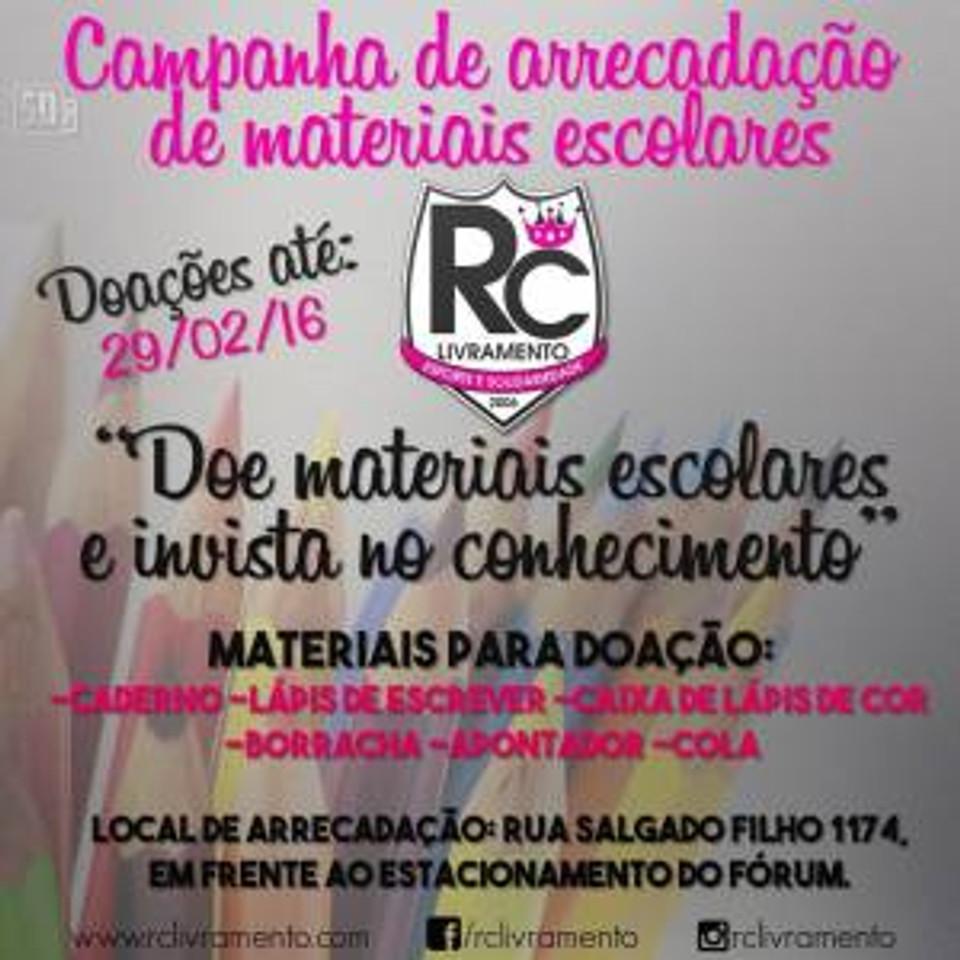 Campanha de Materiais Escolares 2016 do RC Livramento