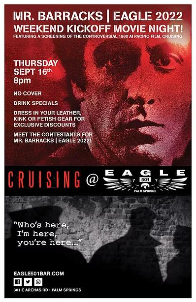 Mr Barracks Eagle 2022 Weekend Kickoff Movie Night Thursday Sept 16