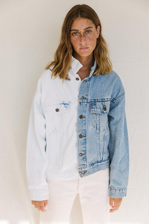 Re-Worked 1/2 + 1/2 Levi's Jacket - Light and White Denim