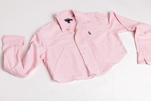 Ralph Lauren Cropped Polo - Pink + White