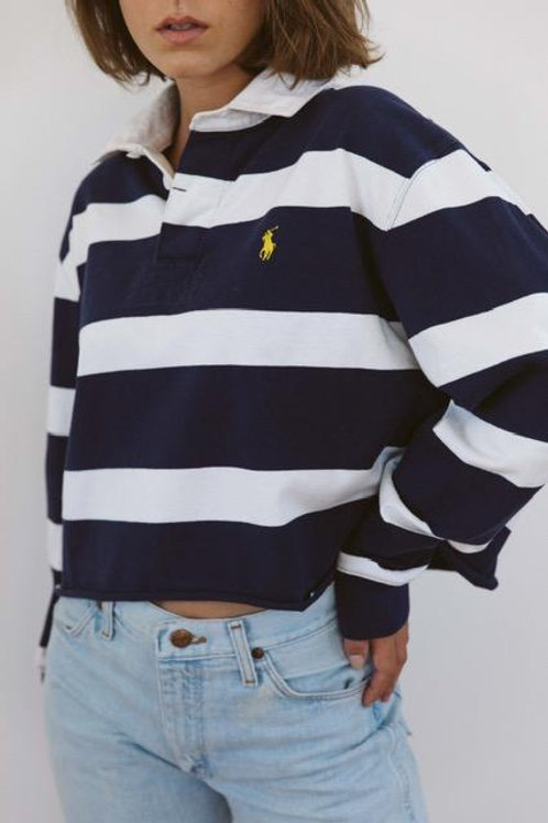 Ralph Lauren Cropped Rugby Polo - Blue/White