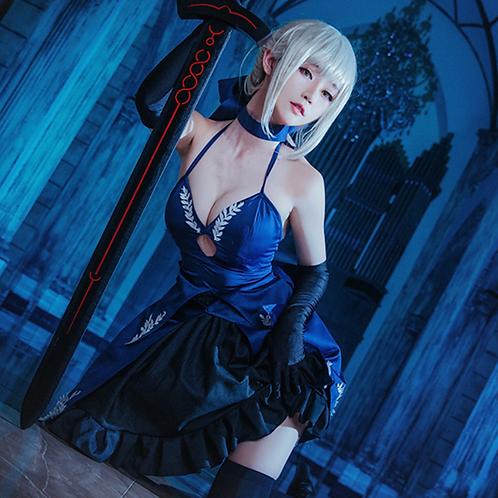Fate アルトリア・ペンドラゴン セイバー 青 ドレス コスプレ衣装
