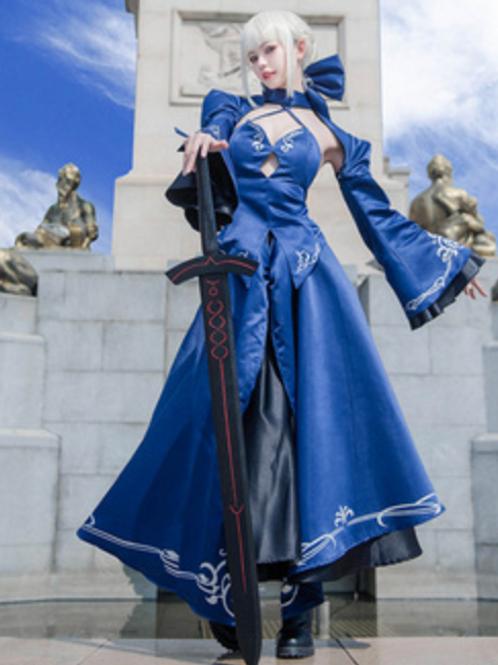Fate アルトリア・ペンドラゴン セイバー 青 ロングドレス コスプレ衣装