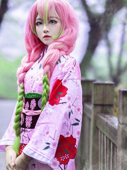 鬼滅の刃 コスプレ    甘露寺蜜璃 ピンク 着物 コスプレ衣装