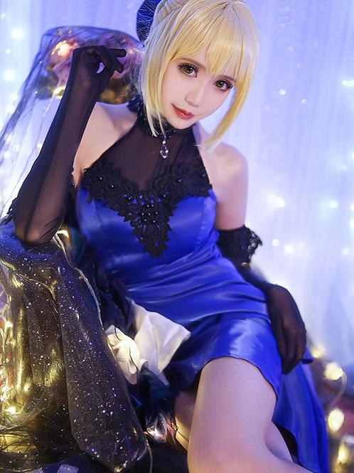 Fate  アルトリア・ペンドラゴン セイバー 青 黒 ドレス コスプレ衣装