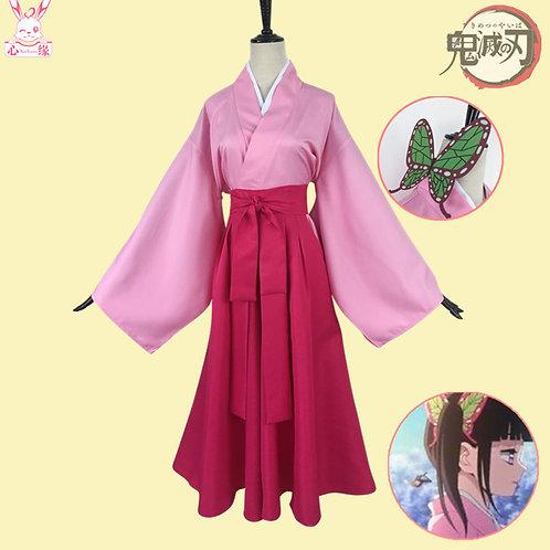 鬼滅の刃 コスプレ     栗花落カナヲ ピンク 着物 コスプレ衣装