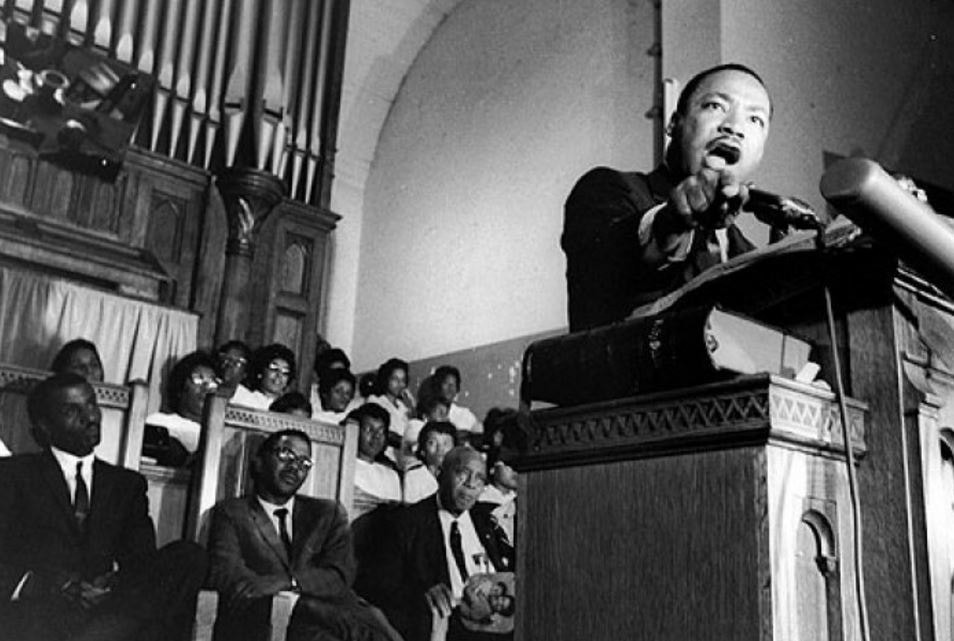 "Dr. Martin Luther King, Jr. giving his 1967 ""Beyond Vietnam"" speech at Riverside Church in New York City."