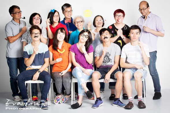 everyone with mustache in family photo