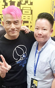 Eva Liu with Aaron Kwok the star