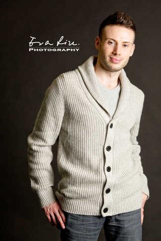 medium shot of male model in knitwear