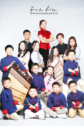 music instructor with her students