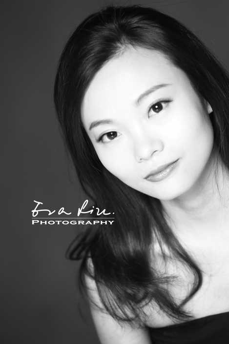 black and white profile shot of young lady