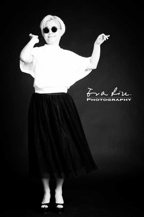 dancing lady in black and white