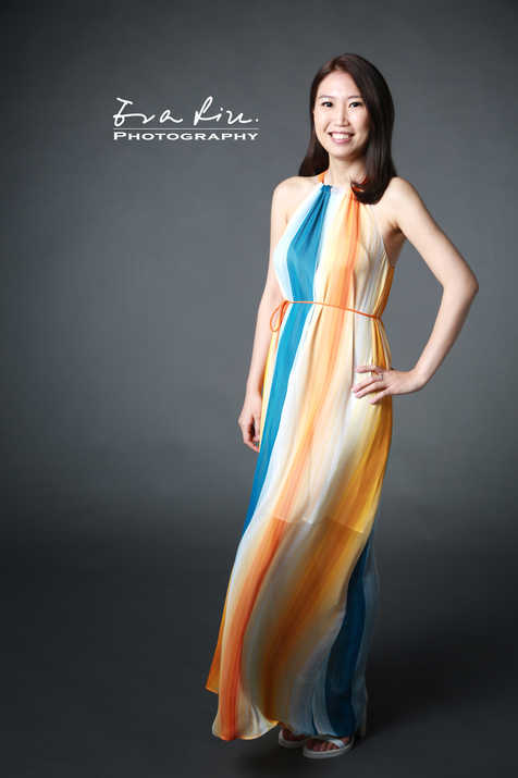 girl in long colorful dress