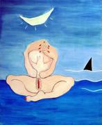 Frau am Ufer
