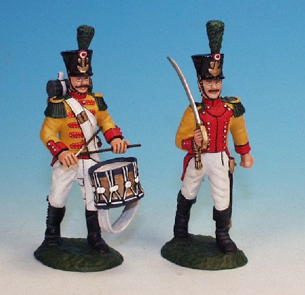 SNV.4 - Swiss Army - Neuchatel Regiment, Voltigeur Company (Officer and Drummer)