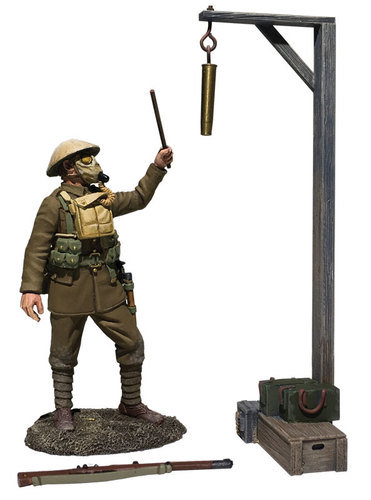 """23115 - """"Gas Alarm"""" British Soldier with Gas Mask, Sounding Alarm, 1917-18"""