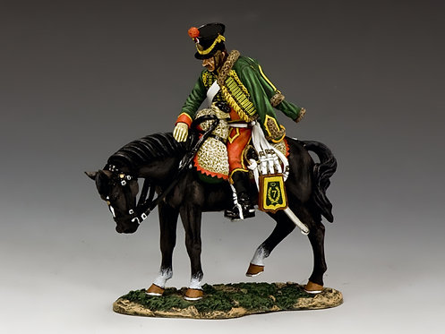 NA303 - Mounted French Hussar Petting His Mount