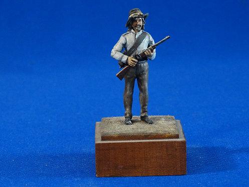 NR-025 - Confederate Infantryman - Metal on Wood Base - ACW - Imrie-Risley (?)