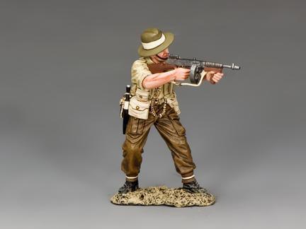 FOB144 - British / Gurkha Officer Firing Tommy Gun
