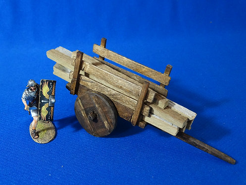 VD-010 - Wooden Cart with Lumber - Wood Construction - 60mm Scale - Volk Designs