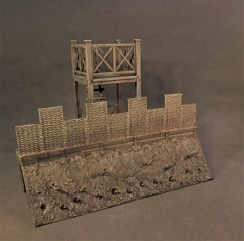 RRFORT-02 - Straight Wall Section with Tower, Turf and Timber Roman Fort