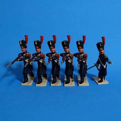 N123 - Officer, Sergeant and Four Men Standing Firing - Foot Grenadiers