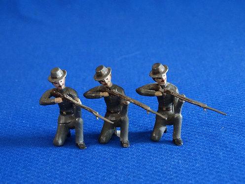MN037 - Confederate Infantry 3 Kneeling Firing - Minot - 54mm Metal - No Box