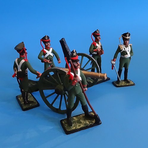 MI-616- 1812 Russian Artillery Cannon and Crew - Russian Made - 54mm with Box