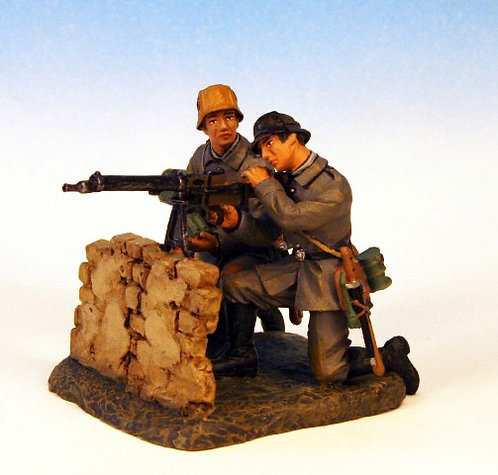 GST.3 - Maxim MG 08 Crew Firing Over Wall, 2 Figures, British Storm Troopers