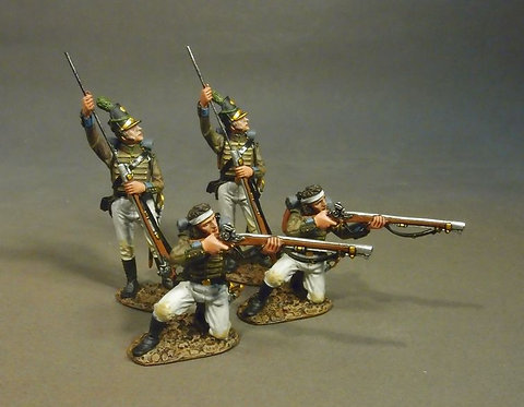 CAZ-01WN - 4 Portuguese 1st Cazadores, 1809 Loading and Firing #1, White Trouser