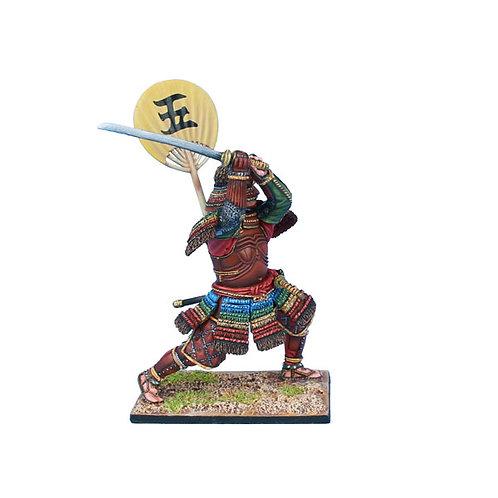 SAM038 - Samurai Warrior Attacking with Katana and Sashimono
