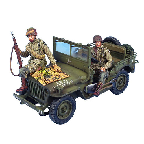 NOR065 - US 101st Airborne Willys Jeep with Driver, Scout, and Map