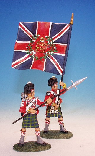 BNG.5 - Officer with Kings Colour and N.C.O., Gordon Highlanders