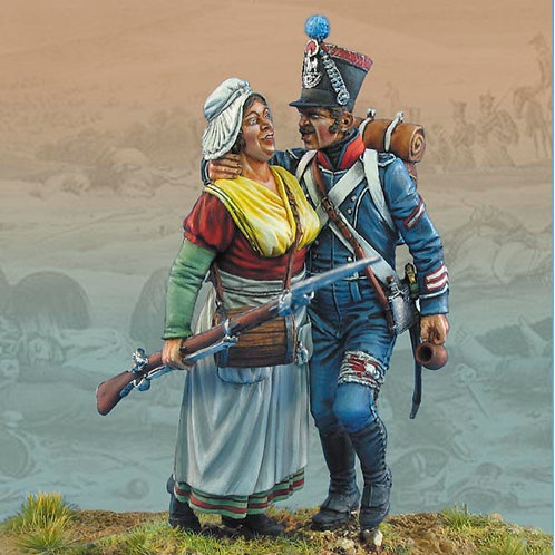 FL54014 - Wounded French Legere Corporal Assisted by Cantiniere, 1813-18