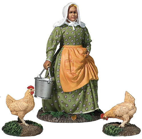 """31280 - """"Miss Dayfield"""" Woman Doing Farm Chores with Two Chickens"""