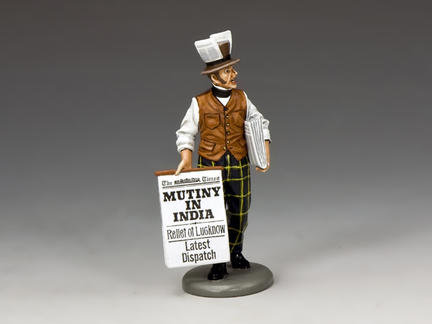 """WoD040 - """"MUTINY IN INDIA!"""" Newspaper Seller, World of Dickens"""