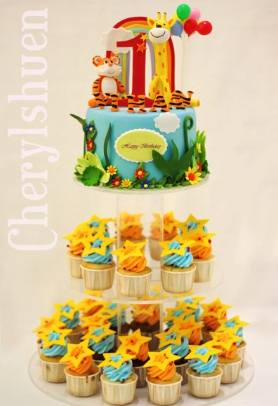Animal Cupcake Tower