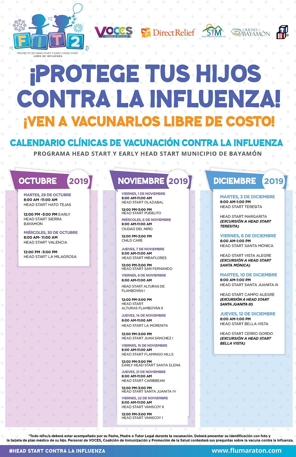 Calendario de Vacunación Libre de Costos Programa Head Start de Bayamón